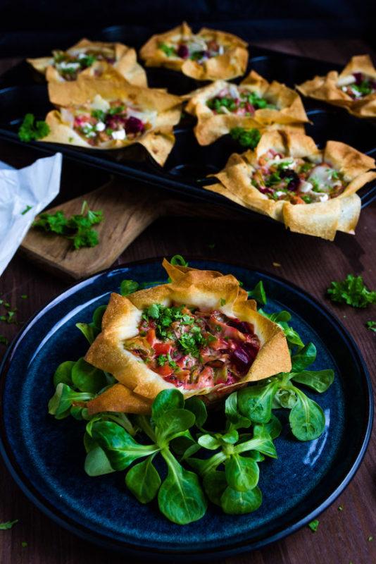 Filoteig Muffins mit Spitzkohl und Rote Bete 3