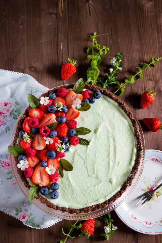Erdbeertarte mit Waldmeistercreme
