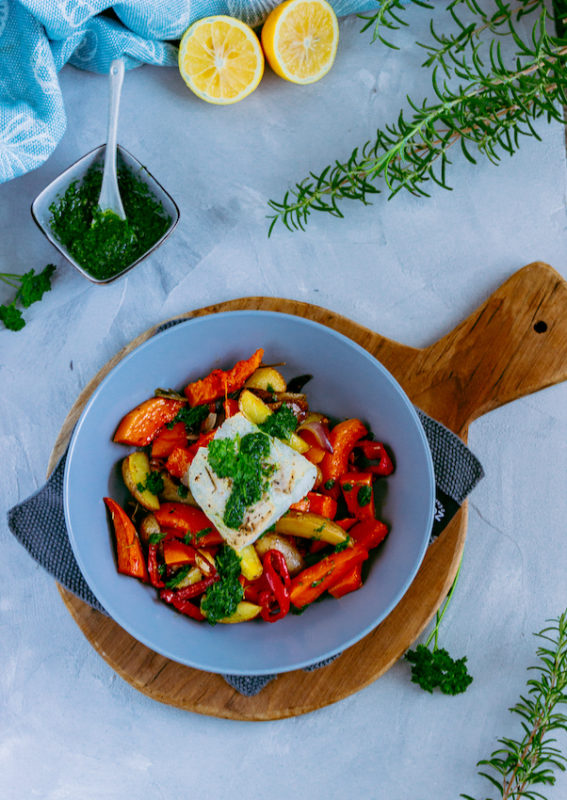 Ofengemüse mit Skrei und Kräuteröl 1