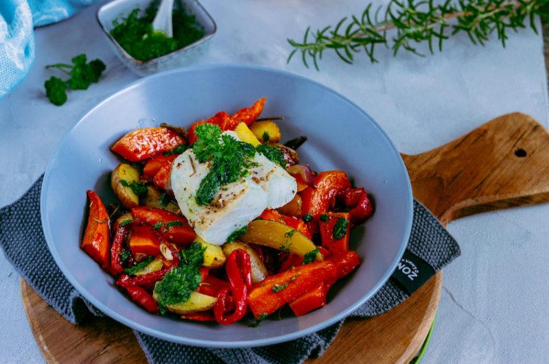 Ofengemüse mit Skrei und Kräuteröl 5