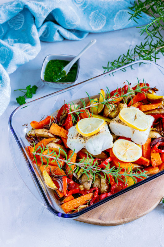 Ofengemüse mit Skrei und Kräuteröl 2