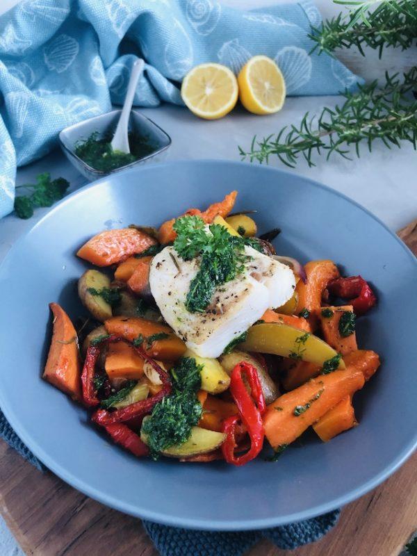Ofengemüse mit Skrei und Kräuteröl 6